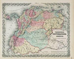1861-Colton-039-s-034-VENEZUELA-NEW-GRANADA-amp-ECUADOR-034-original-steel-plate-engraving