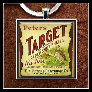 Vintage Peters Cartridges 12 Ga Shot Gun Shell Box Photo Keychain Collectible