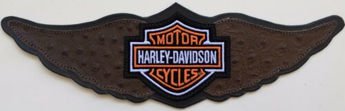 BROWN INLAY Harley Straight Wing Leather Patch XL
