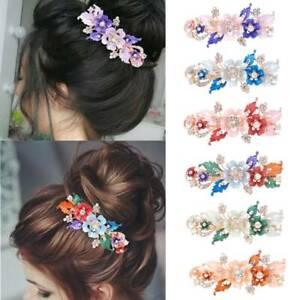 Crystal-Resin-Flower-Barrettes-Hair-Clip-Cute-Hairpin-Headwear-Accessories