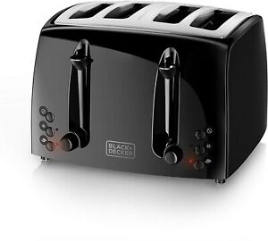 Electric Toaster 4 Slice Bread Four Wide Slots Bagel Kitchen Extra-wide Black
