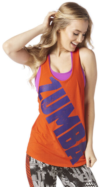 sz XL Zumba Rock N Rave Loose Tank Top Tangerine Orange XXL