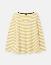 Joules Womens Harbour Lightweight Swing V Neck Jersey Top - Mustard Stripe