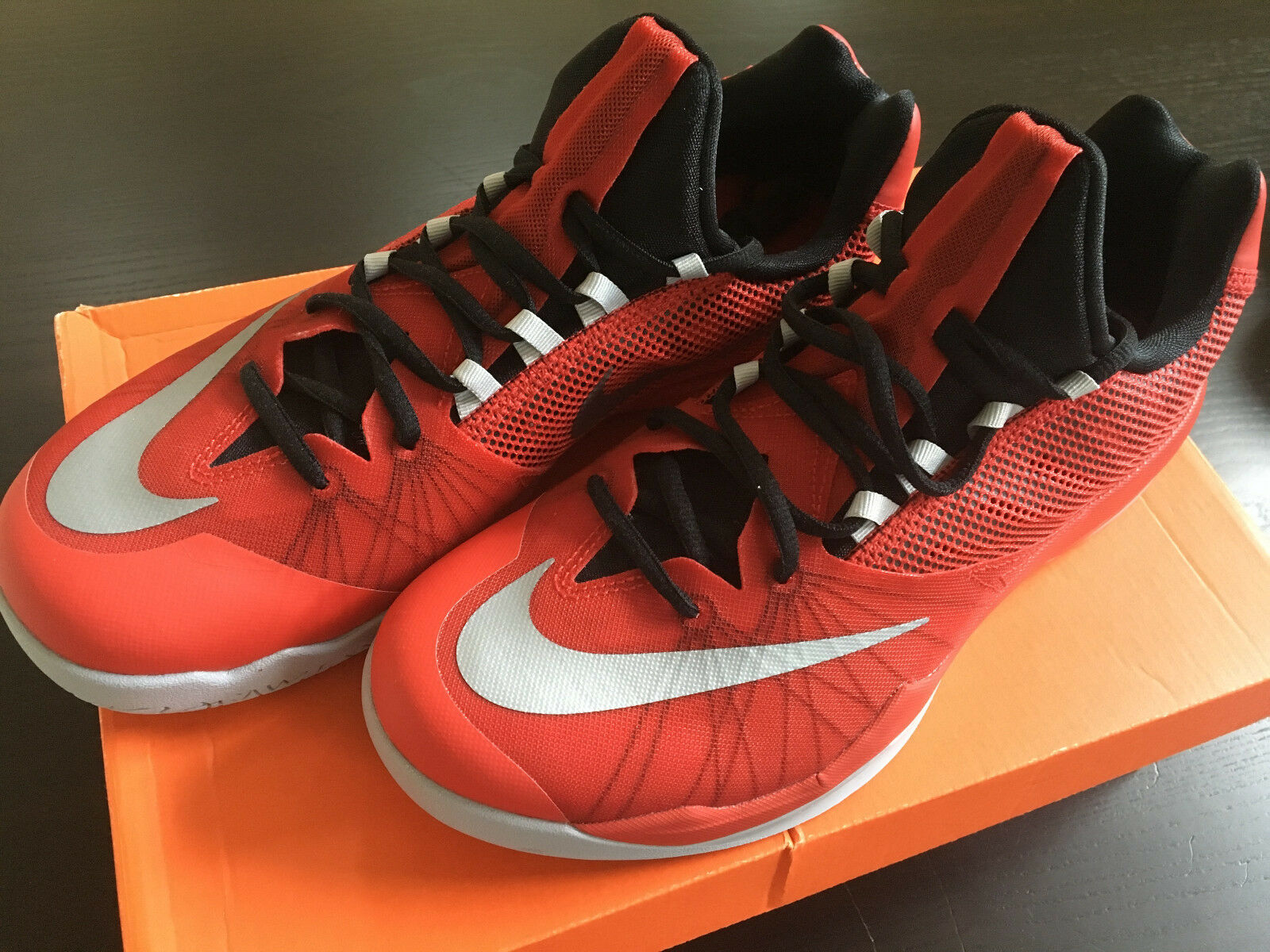 NEW Rare Nike RED ZOOM Run The One Basketball Shoes Low Men Sz 9 harden iguodala
