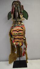 African Mask Igbo Maiden Spirit Mask Crest Helmet Northern Applique Red Cloth