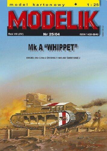 Britischer Panzer Mk A Whippet 1:25  mit Lasercutteilen  Modelik 25//04
