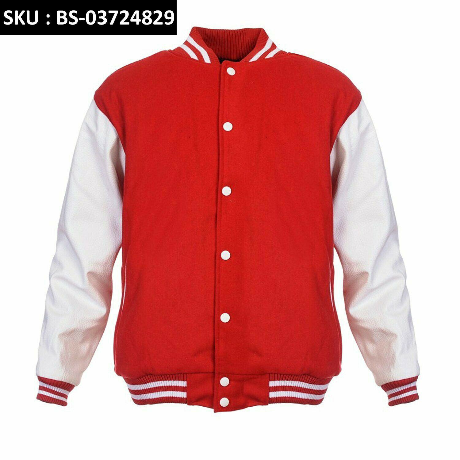 SCARLET rot Pure Wool Varsity Letterman Bomber Jacket Weiß Pure Leather Sleeve