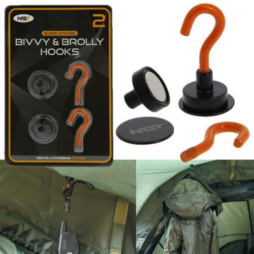 NGT MAGNETIC BIVVY BROLLY HOOKS WITH BACKING PLATE CARP FISHING TACKLE SHELTER