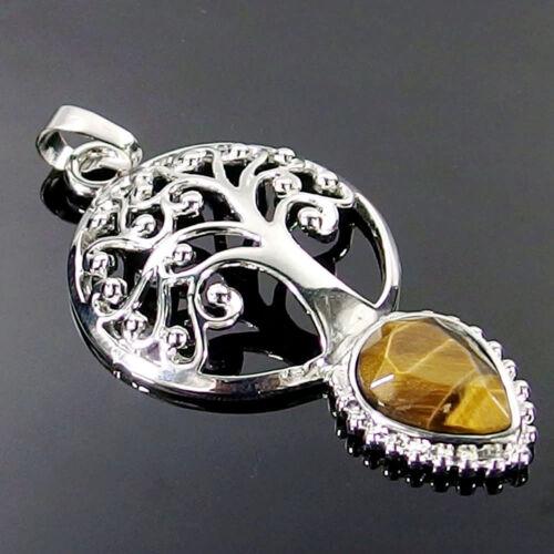 Natural Gemstone Cristal Guérison Chakra pierre arbre de vie Pendentif