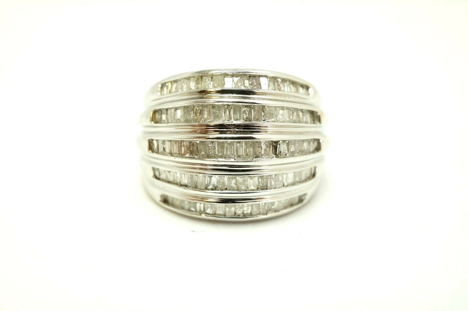 10k White gold 1 Carat tw Natural Diamond Channel Set Cluster Dome Ring Sz 7.25