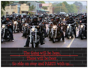20-MOTORCYCLE-Harley-BEER-PARTY-Postcards-or-Flat-Cards-Env-Invitations
