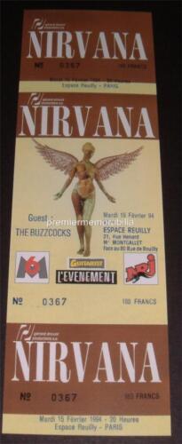 NIRVANA KURT COBAIN DAVE GROHL ESPACE REUILLY PARIS FRANCE 1994 REPLICA TICKET