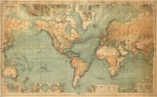 WORLD MAP, 1536 Vintage Map Reproduction Canvas Print 36x22