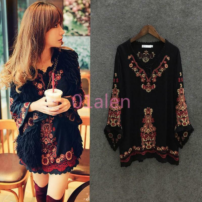 Women Ethnic Embroidered Floral Tunic Mexican Gypsy Mini Dress & Vest Suits Hot