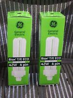2 GE 42W F42TBX/841/A/ECO BIAX Fluorescent Light Bulb 42W 4 Pin GX24Q-4 97636