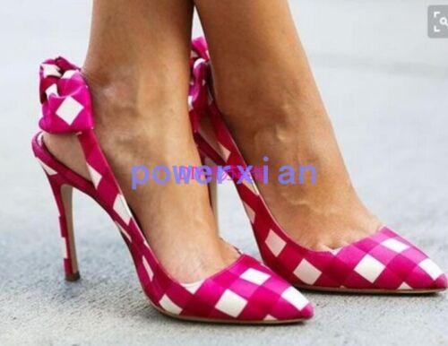 Bowknot Stilettos Womens Lattice Slingback Mode Plaid Escarpins Chaussures Toe 644Cwq7P1
