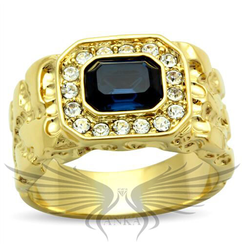 Men's Gold Plated Top Graded Montana Crystal Ring 8 9 10 11 12 13 GL035