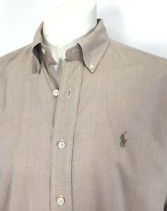 Ralph-Lauren-Mens-sz-15-34-35-Yarmouth-Tan-Herringbone-Dress-Shirt-100-Cotton