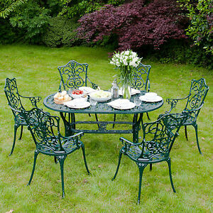 Outdoor Garden Metal Furniture Cast Aluminium 6 Armchair ...