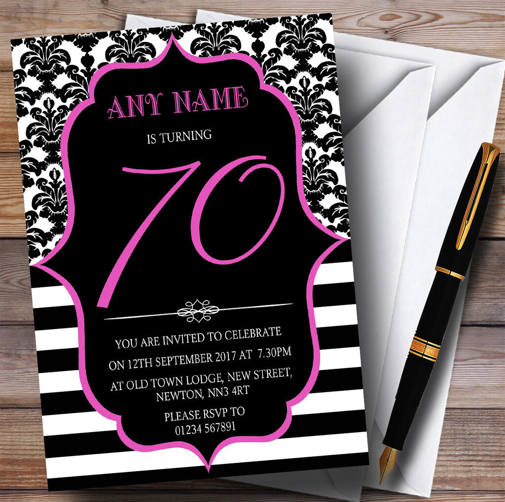 Vintage Damask Rosa 70th Personalised Birthday Party Invitations 74053c