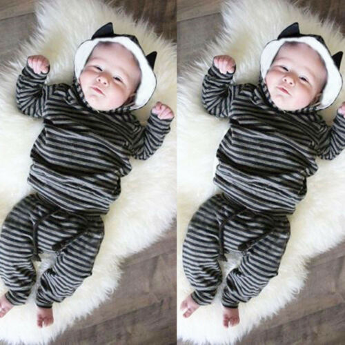 Newborn Baby Infant Boys Girl Striped Ear Hooded Tops Pullover Pants Outfits Set