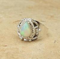 Ethiopian Welo Opal Ethnic 925 Sterling Silver Ring Size R 1/2-US 9