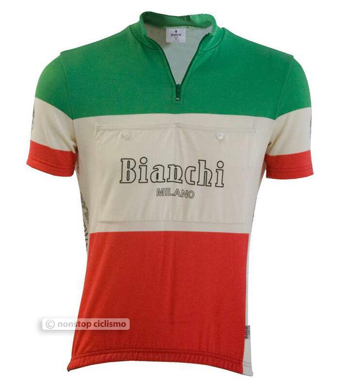 Bianchi Short Milano HOZAN Vintage Retro Short Bianchi Sleeve Cycling Jersey : TRICOLORE eb6031