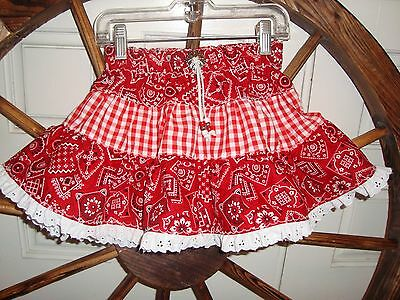 RED Bandana/Gingham Western Twirl Skirt Sz 4 Handmade by Kari NEW USA