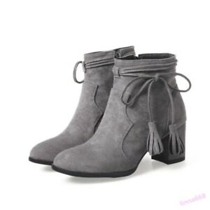 80a1eb353b8 Ankle Boot Women s Shoes Mid Block Heel Tassel Bowknot Pointed Toe ...
