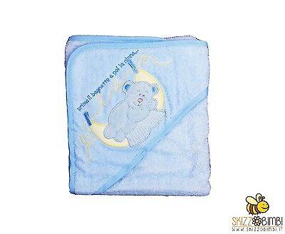 Accappatoio Baby Triangolo Neonato Orsetto Azzurro