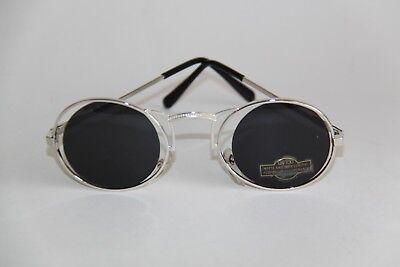 Occhiali Da Sole Stravaganti Telaio In Metallo Argento Colori Ovale Bicchieri Grigio Circa-mostra Il Titolo Originale Alleviare Il Calore E La Sete.
