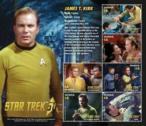 Ghana - Star Trek 50th Anniversary- Captain James T Kirk - 2016 MNH