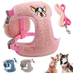 Soft-Fleece-Small-Dog-Harness-amp-Lead-amp-Treat-Bag-Set-Mesh-Padded-Pet-Puppy-Cat-Vest