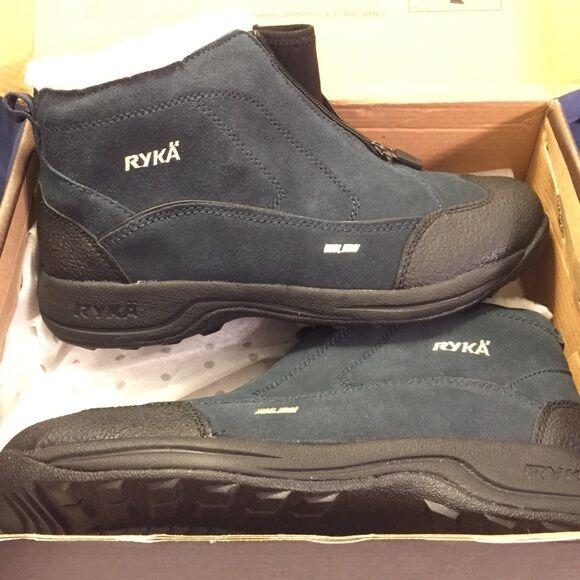 Ryka True Navy Suede Leder Terrain Zip Mid Athletic Winter Stiefel UK 7.5 EUR 41