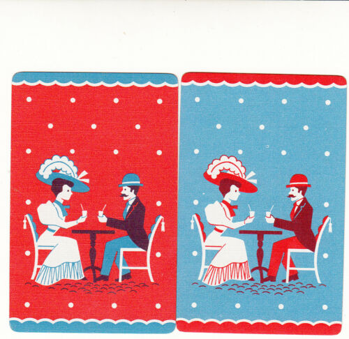 JS single vintage single playing swap cards Deco couple pair #209 2