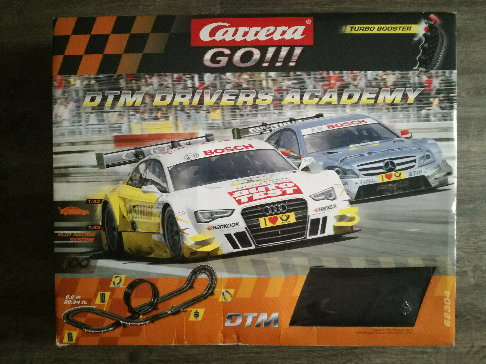 Carrera Go  Rennbahn komplett DTM Drivers Academy Audi A5 + AMG Mercedes C 6,2m