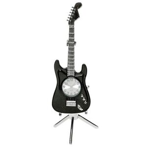 Black-Fender-Guitar-Miniature-Clock-With-Stand