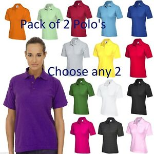 Details about **PACK OF 2** Ladies Polo Shirts x 2 Size UK 8 to 26 Plus Pique T-Shirt UK STOCK