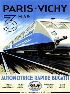 TRAVEL TRANSPORT PARIS VICHY TRAIN RAIL SPEED MODERN FAST FRANCE POSTER LV4420