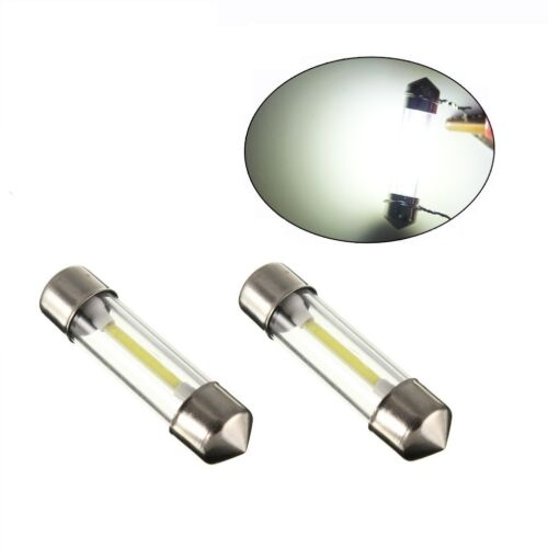 2 x 42MM C5W Cob SMD LED Lights Bulbs Festoon Dome Car Interior Lamp Glass lens