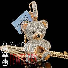 Real Diamond Teddy Bear Pendant Ladies 14K Rose Gold Finish Round Pave 3D Charm