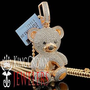 9ce65ac4323a8b Real Diamond Teddy Bear Pendant Ladies 14K Rose Gold Finish Round ...