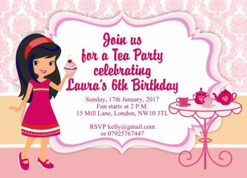 10 x Personalised Girls Afternoon Tea Party Birthday Invitations//Thank you cards