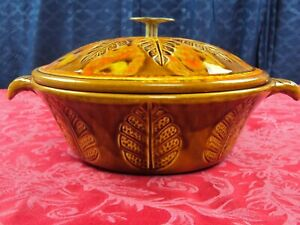 VINTAGE CALIFORNIA ART POTTERY DRIP GLAZE CASSEROLE DISH WITH LID FALL DESIGN