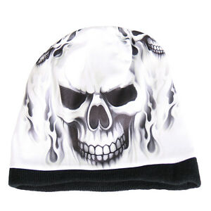 SKULL-amp-FLAMES-Beanie-Knit-Cap-Motorcycle-Biker-Hat-Tribal-Ski-Snowboard-WHITE