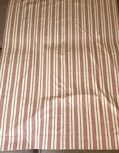 One-Pottery-Barn-Kids-Panel-Drape-Red-Tan-White-Stripe-Lined-Curtain-44-x-63