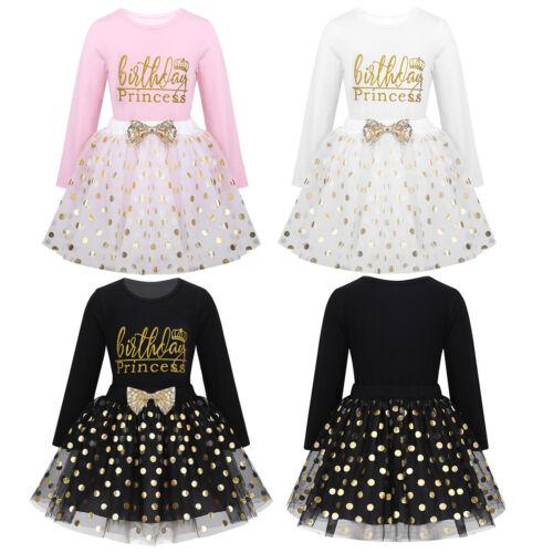Girls Princess Birthday Outfit Toddler Princess Top Romper Mesh Dress Tutu Skirt
