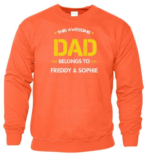 Father/'s Day THIS AWESOME DAD BELONGS TO Personalised Mens Sweat Gift Sweatshirt