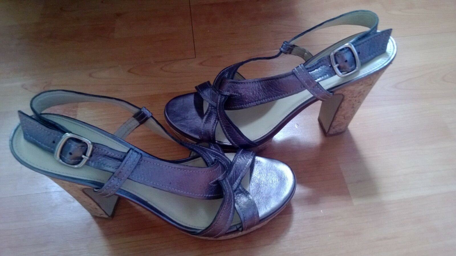 Marc Fisher Pewter Leather Strappy Cork Heels Sz9.5 EUC