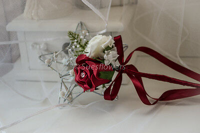 Wedding Flowers Bridesmaid Wand in Red and Ivory.